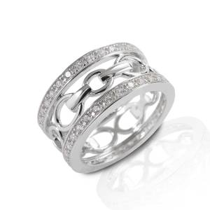 Kelly Herd Wide Band Bit Ring - Sterling Silver