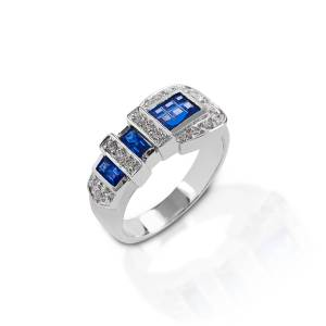 Kelly Herd Blue Ranger Style Buckle Ring - Sterling Silver