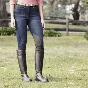Dublin Ladies Shona Knee Patch Denim Breeches