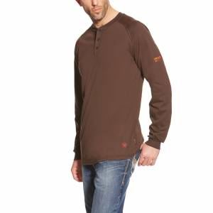Ariat Mens FR Long Sleeve Henley Shirt