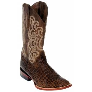 Ferrini Mens Print Belly Caiman Square Toe Boots