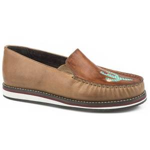 Roper Ladies Leather Cactus Slip On Shoes