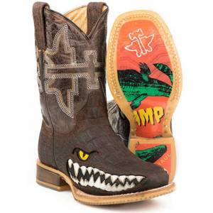 Tin Haul Big Kids Square Toe Boots - Swamp Chomp