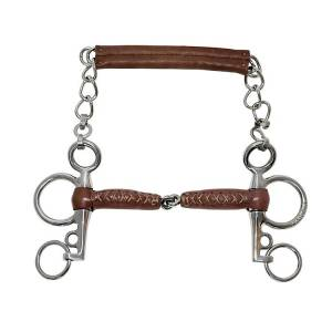 Metalab Leather Pelham Snaffle Bit 4 in Cheek 4.5