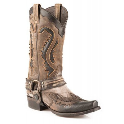 Stetson Mens Outlaw Square Toe Harness Boots