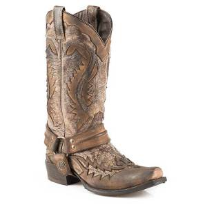 Stetson Snip Toe Harness Boots - Mens, Brown Crackle