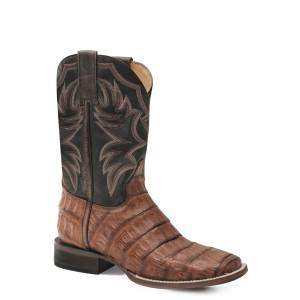 Roper Deadwood Boot - Mens - Burnish Tan/Marble Blue