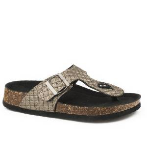 Roper Ladies Tabitha Quilted Faux Leather Thong Sandals