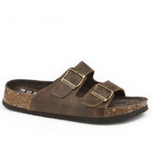 Roper Ladies Deliah Two Strap Footbed Leather Sandals