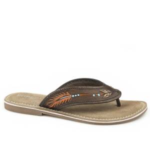 Roper Ladies Penelope Hand Tooled Thong Sandals