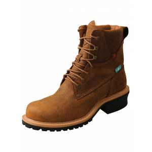 Twisted X Mens Comp Toe Lace-Up Logger Boots
