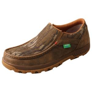 Twisted X Mens Mossy Oak Slip-On Driving Mocs with CellStretch