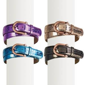Ovation Ladies Rose Gold Buckle Metallic Belt