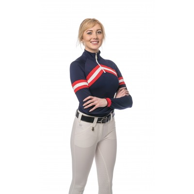Kastel Denmark Ladies Chevron Long Sleeve 1/4 Zip Shirt