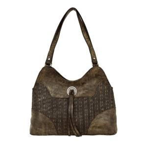 American West Basket Weave Multi-Compartment Shoulder Bag