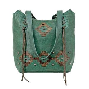 American West Tribal Weave Zip Top Bucket Tote