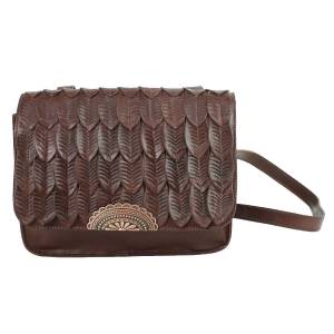 American West Freedom Feather Multi-Compartment Crossbody Flap Bag