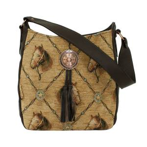 American West Bits and Bridle Soft Zip Top Shoulder Hobo Bag