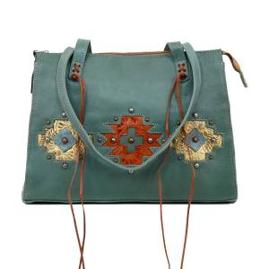 American West Navajo Soul Zip Top Tote With Secret Compartment