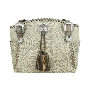 American West Lariats And Lace Zip Top Tote with Secret Compartment