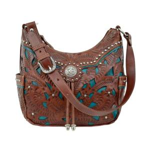 American West Lady Lace Zip-Top Everyday Hobo With 2 Side Pockets