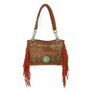 Savana Fringe Bag with Turquoise Stone Accents