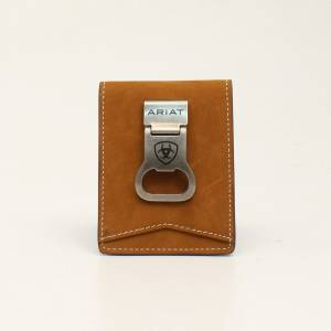 Ariat Mens Bilfold Distressed Stitch Money Clip Wallet