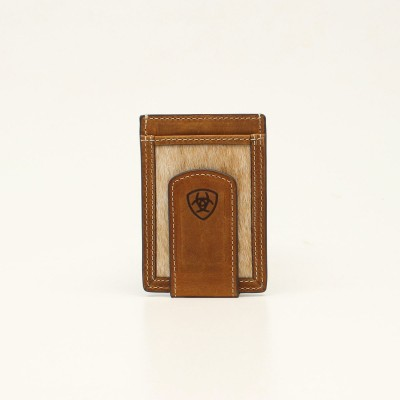 Ariat Mens Card Case Money Clip Calf Hair  Wallet