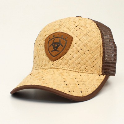 Ariat Mens Straw Leather Patch Cap