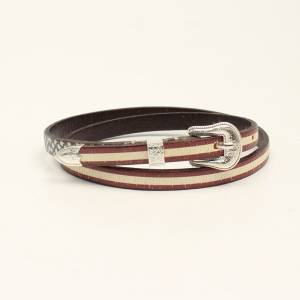 M&F Ladies Western Hatband 3D Distressed USA Flag Belt