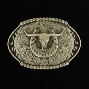 Nocona Mens Oval Skull Head Buckle