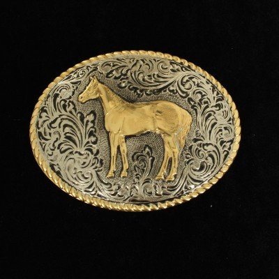 Nocona Mens Oval Roped Edge Standing Horse Buckle