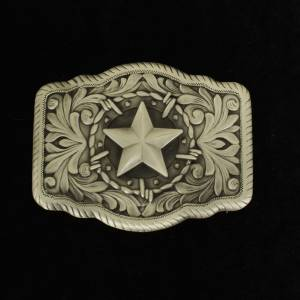 Nocona Mens Rectangle Star Rope Edge Buckle