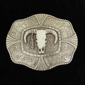 Nocona Mens Rectangle Roped Edge White Steer Buckle