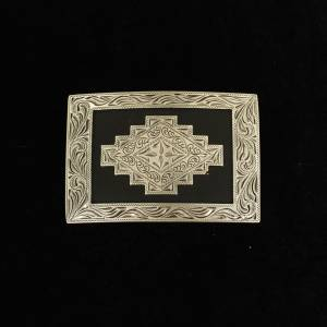 Nocona Mens Rectangle Scroll Edge Aztec Buckle