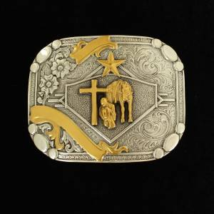 Nacona Mens Rectangle Smooth Edge Praying Cowboy Buckle