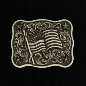 Nacona Mens Rectangle Smooth Edge USA Flag Buckle
