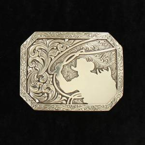 Nacona Mens Rectangle Stamped Edge Roping Cowboy Buckle