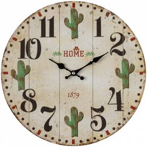 Gift Corral Wooden Cactus Wall Clock