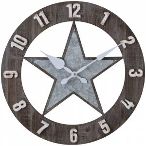 Gift Corral Wood/Metal Star Wall Clock