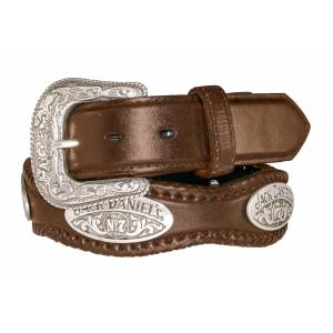 Jack Daniel's Ladies Scalloped & Laced Leather Belt with Conchos