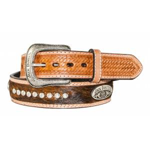 Jack Daniel's Brown Hair-On Leather Belt with Conchos