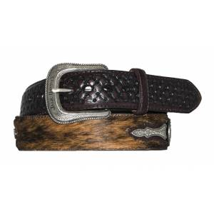 Jack Daniel's Brown Hair-On Leather Belt with Western Tips