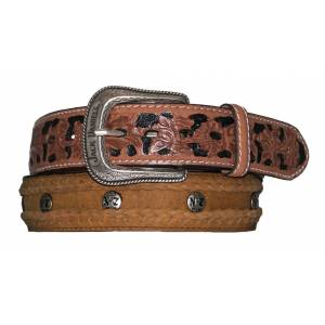 Jack Daniel's Roughout Leather Belt with Laced Edge & Conchos