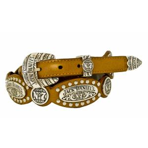 Jack Daniel's Ladies Scalloped & Studded Leather Belt with 3-Piece Buckle Set