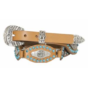 Jack Daniel's Ladies Scalloped & Linked Leather Belt with Turquoise Studs