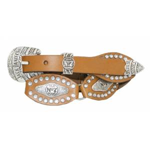 Jack Daniel's Ladies Scalloped & Linked Leather Belt with Rhinestone Studs