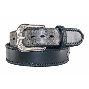 Jack Daniel's Ladies Laced Edge Leather Belt with Embroidered Overlays