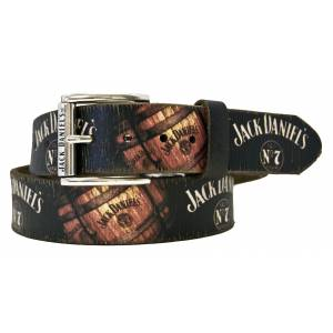 Jack Daniel's Vintage Barrel Screenprint Leather Belt