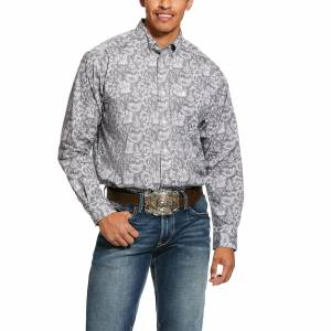 Ariat Mens Fayette Print Stretch Classic Fit Long Sleeve Shirt